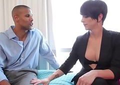 Dominate tranny doggystyled in interracial duo