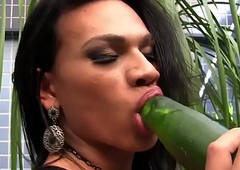 Latina shemale drills her ass with cucumber