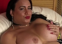 Heavy tranny in stockings wanking will not hear of cock