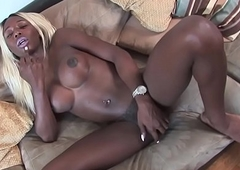 Ebony ts stroking until that babe cums at casting