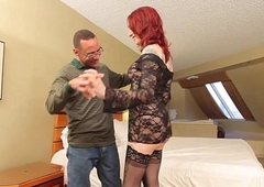 Redhead tgirl plowed deeply surrounding cock