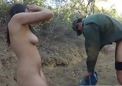 Gorgeous shemale gives a blowjob xxx Mexican border warder agent has
