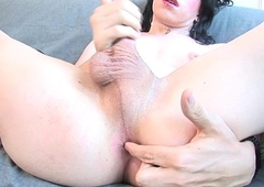 Casting unskilled tugging cock on the top of couch