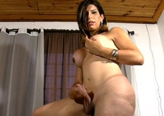 Queer tranny touches her round breasts with an increment of shaved ladystick