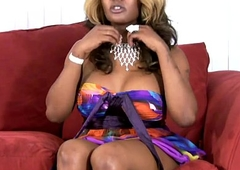 Big ebony doll with boloney exposes bigtits and big shecock