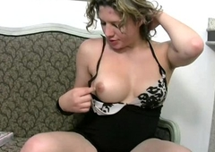 Impressive ladyman regarding curly hair strokes her thick shemeat