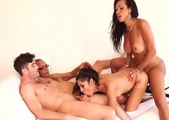 Cute and busty receiver having relaxation in a hardcore foursome carnal knowledge