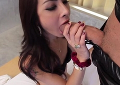 Latex affectionate ladyboy fucked right into an asshole before facial
