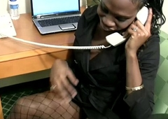 Having a phone sex makes this blackguardly t-babe secretary cumshot