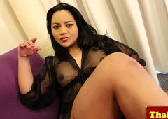 Busty oriental tranny more lingerie jerking off