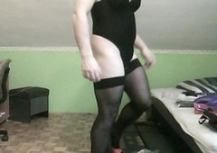 sexy groping leggins and thong leotard, corset