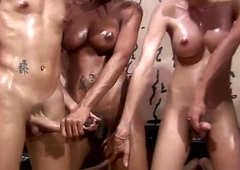 Four shemales enjoy oil kneading and anal sex orgy