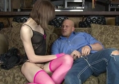 Skinny shemale Birdmountain anal screwed on the couch