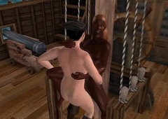 Some hot blissful 3D interracial fucking on a pirate ship