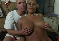 Busty black crystal set fucks confined guy upon his face hole and bore