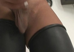 Off colour brazilian tranny newborn playing with their way cock